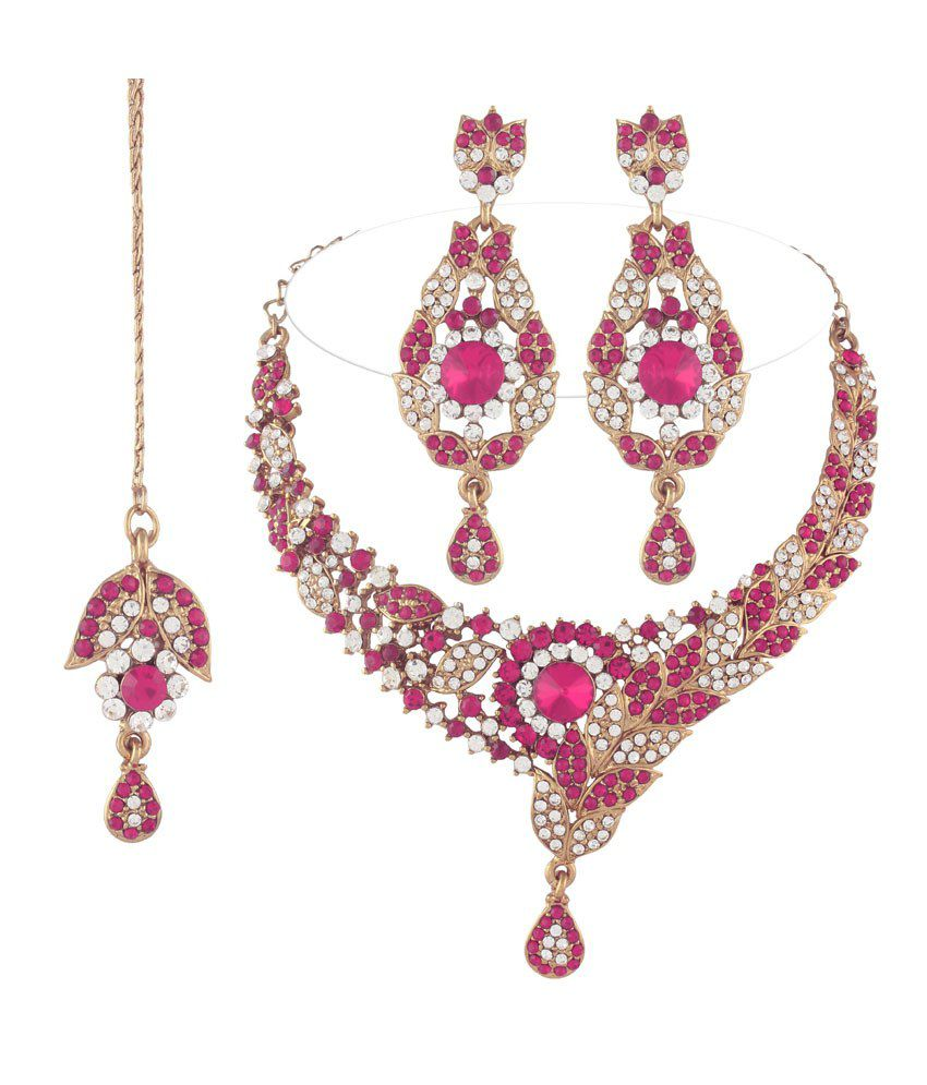 I Jewels Pink Colour Statement Necklaces With Maang Tika Sets