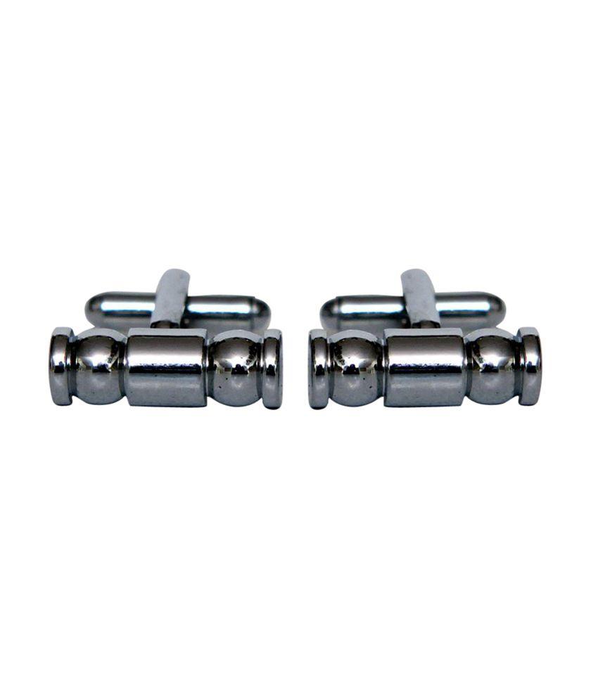 Blacksmithh Shining Mens Metal Cufflink (silver)