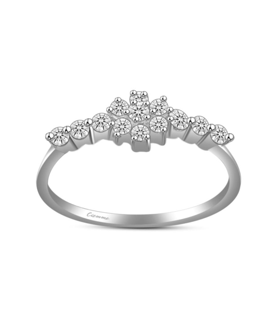 Ciemme 925 Sterling Silver Prong Set Flower 0.62 Ct Cz Studded Ring