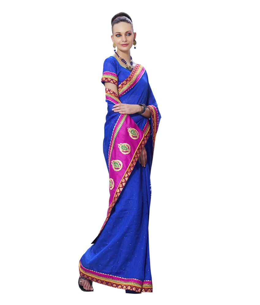 Kalkifashion Blue Saree With Embroidered Pallu