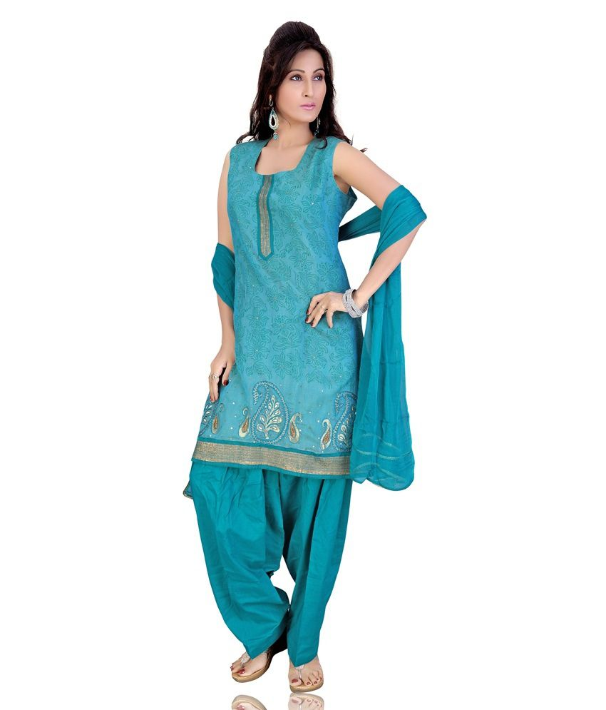 Mint Green Color Embroidered Net Stitched Salwar Suit