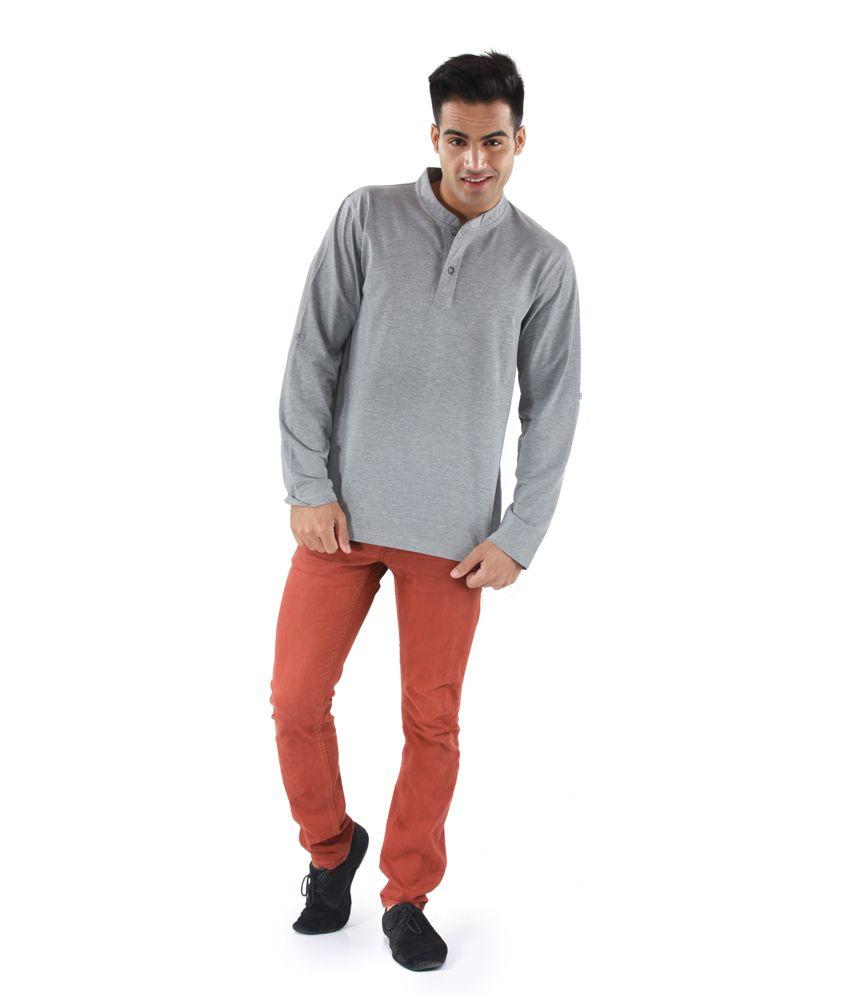 Mudo Gray Basics Henley Half Sleeve T-shirt