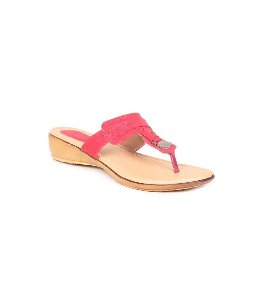 Sindhi Footwear Red Flat