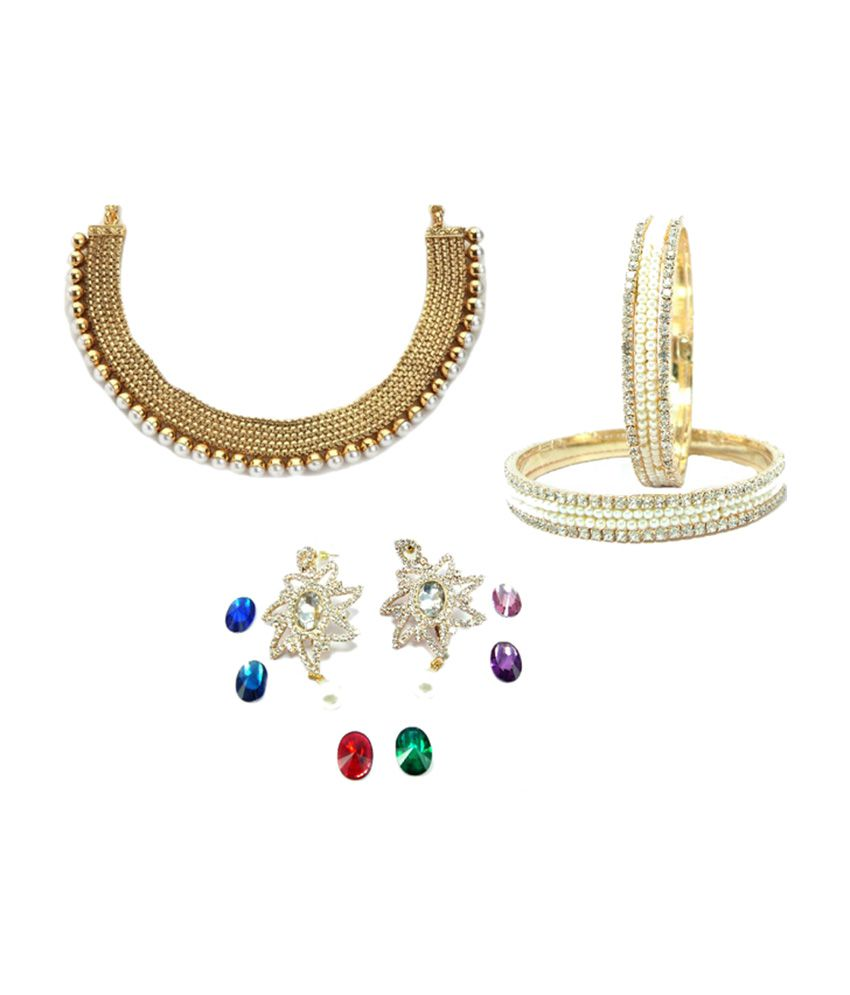 9Blings Pearl Necklace Bangle Changeable Earring Combo