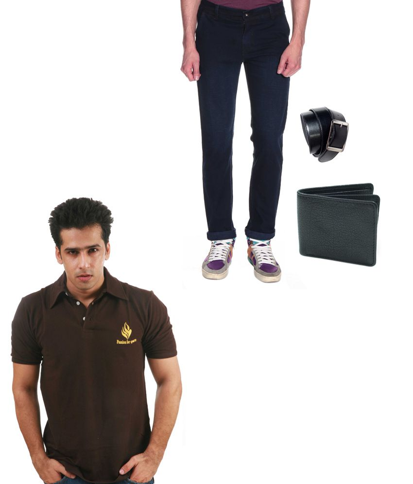 Fashion Navy Slim Jeans With Belt, Wallet & Polo T Shirt
