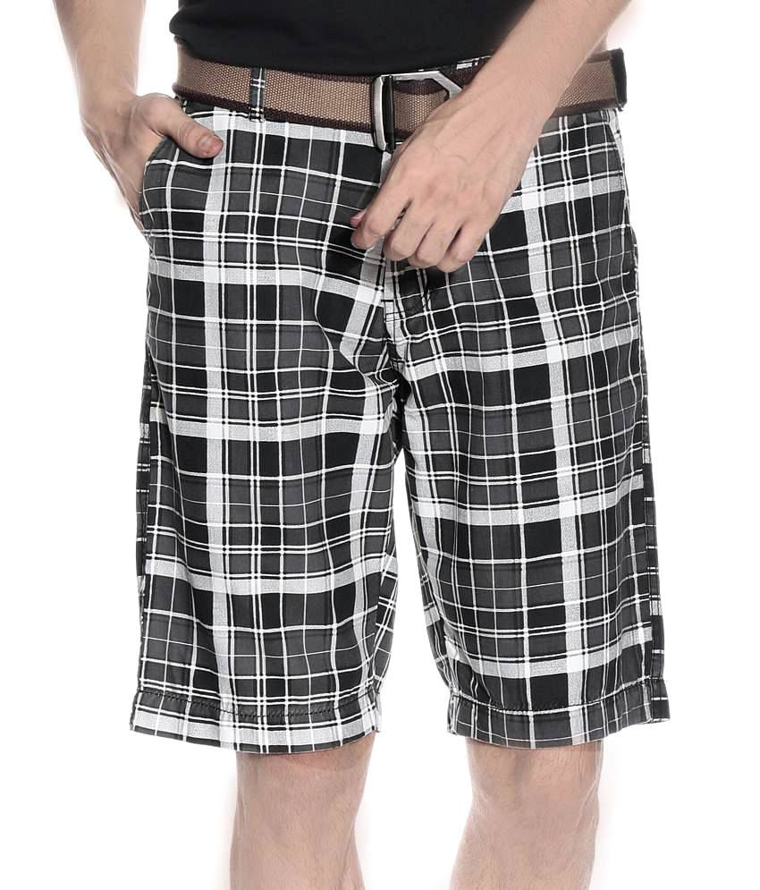 LEANA Multi Cotton Checks Shorts