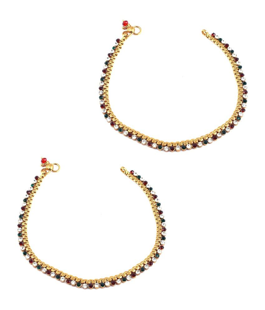 Orniza Golden base Payal attached with single line Stones in Red & Green color