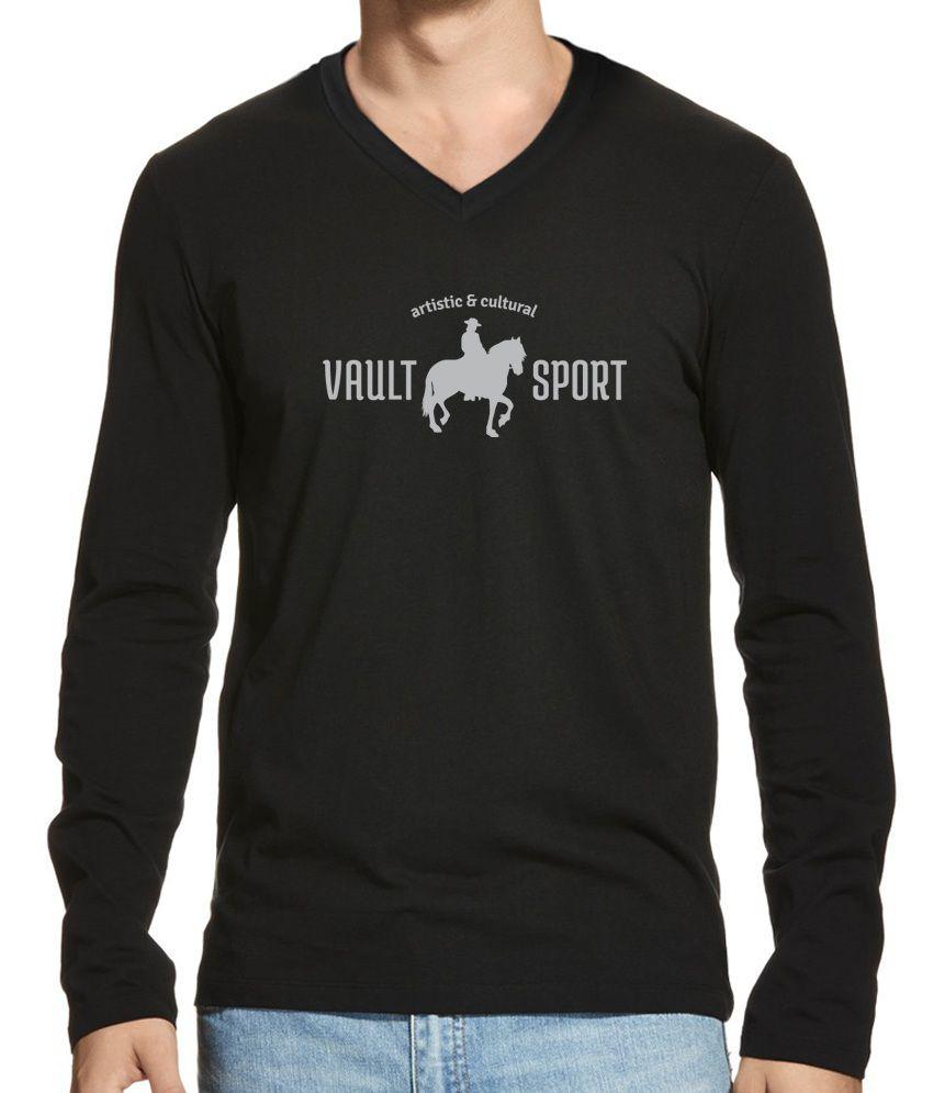 Black t shirts v neck - Hueman Black Cotton Printed Full Sleeves V Neck T Shirt