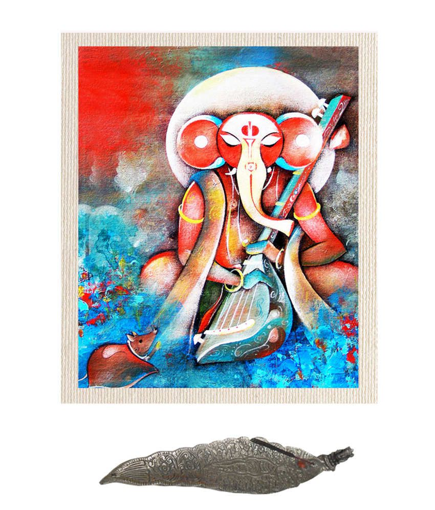 Mesleep Digitally Printed Blue And Red Hundred Percent Cotton Ganesh With Sitar Painting With Agarbatti Stand