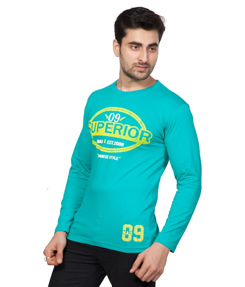 Ajc Printed Green Full Cotton T-shirt