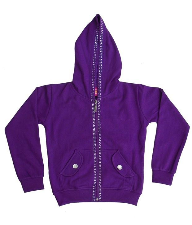 Sweet Angel Purple Color Full Sleeves Hooded Zipper Jacket For Kids