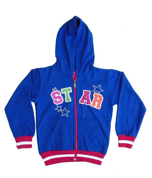 Sweet Angel Royal Blue Color Full Sleeves Star Printed Hooded Zipper Jacket For Kids