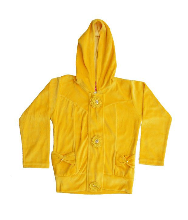 Sweet Angel Yellow Color Full Sleeves Hooded Zipper Jacket For Kids