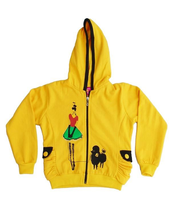 Sweet Angel Yellow Color Full Sleeves Embroidered Hooded Zipper Jacket For Kids