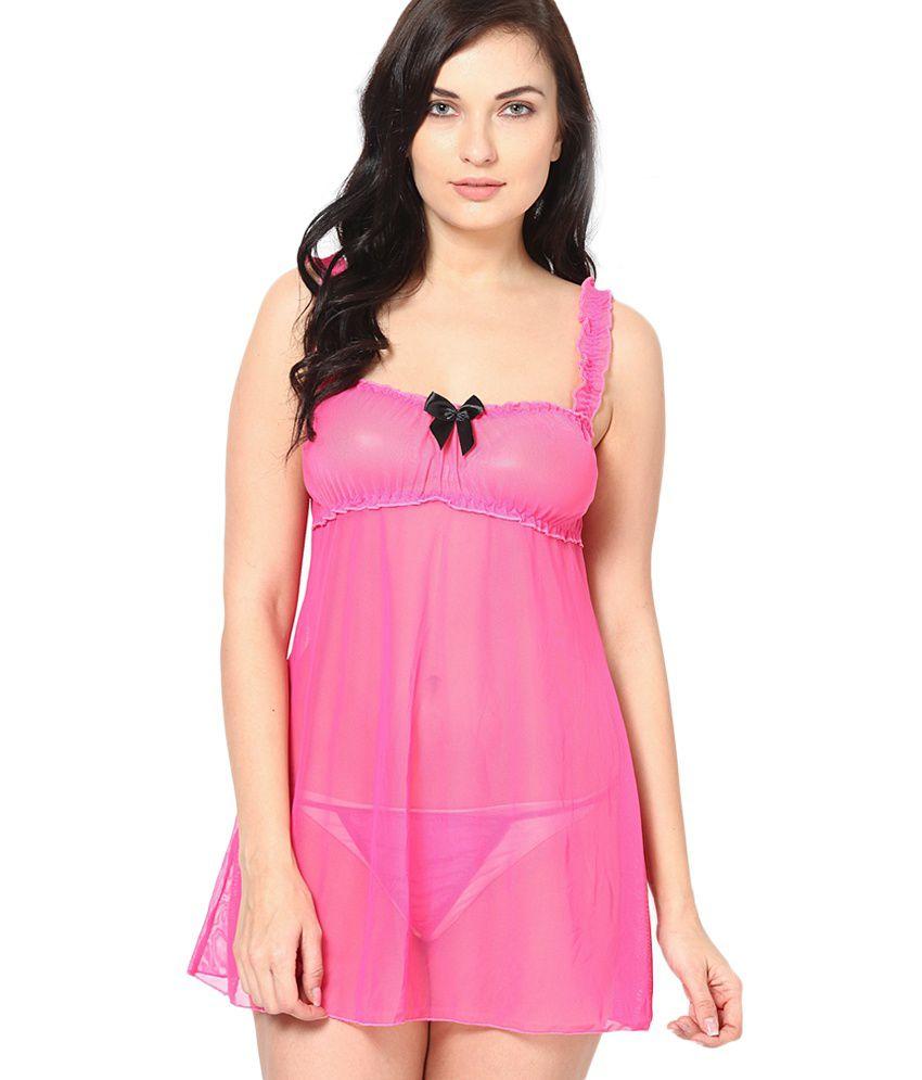 Nitein Pink Lycra Baby Doll Dresses