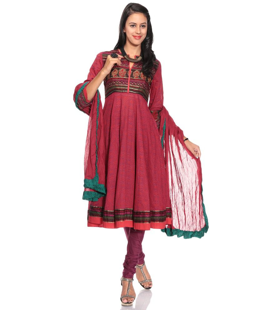 bea1a6bc86 Biba Maroon Printed Cotton Stitched Anarkali Salwar Suit - Buy Biba Maroon  Printed Cotton Stitched Anarkali Salwar Suit Online at Low Price -  Snapdeal.com