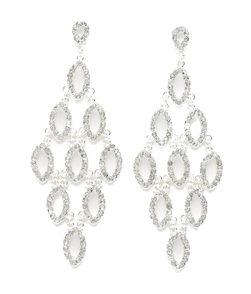 Diva Jewels Silver Cascading Diamante Earrings