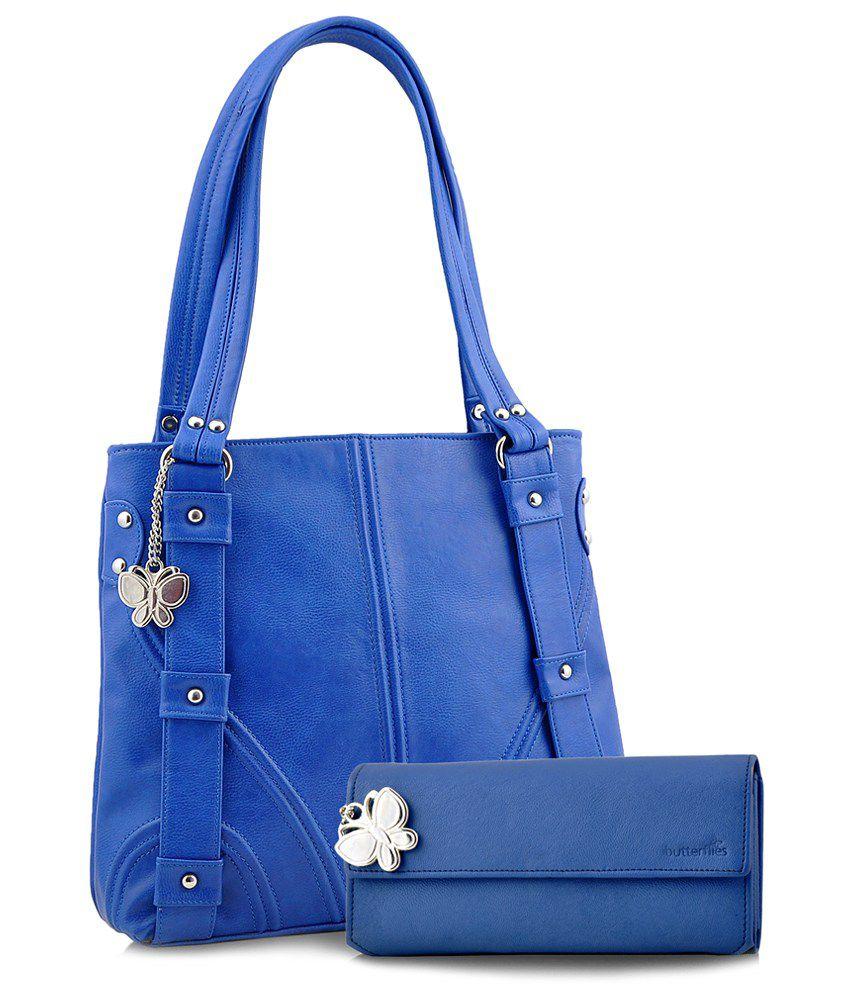 Butterflies Blue Faux Leather Shoulder Bag