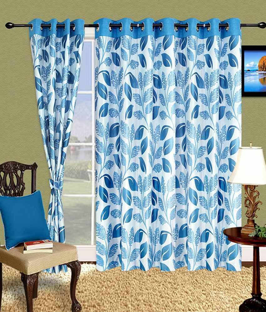Blue contemporary curtains -  Cortina Set Of 2 Door Eyelet Curtains Contemporary Blue