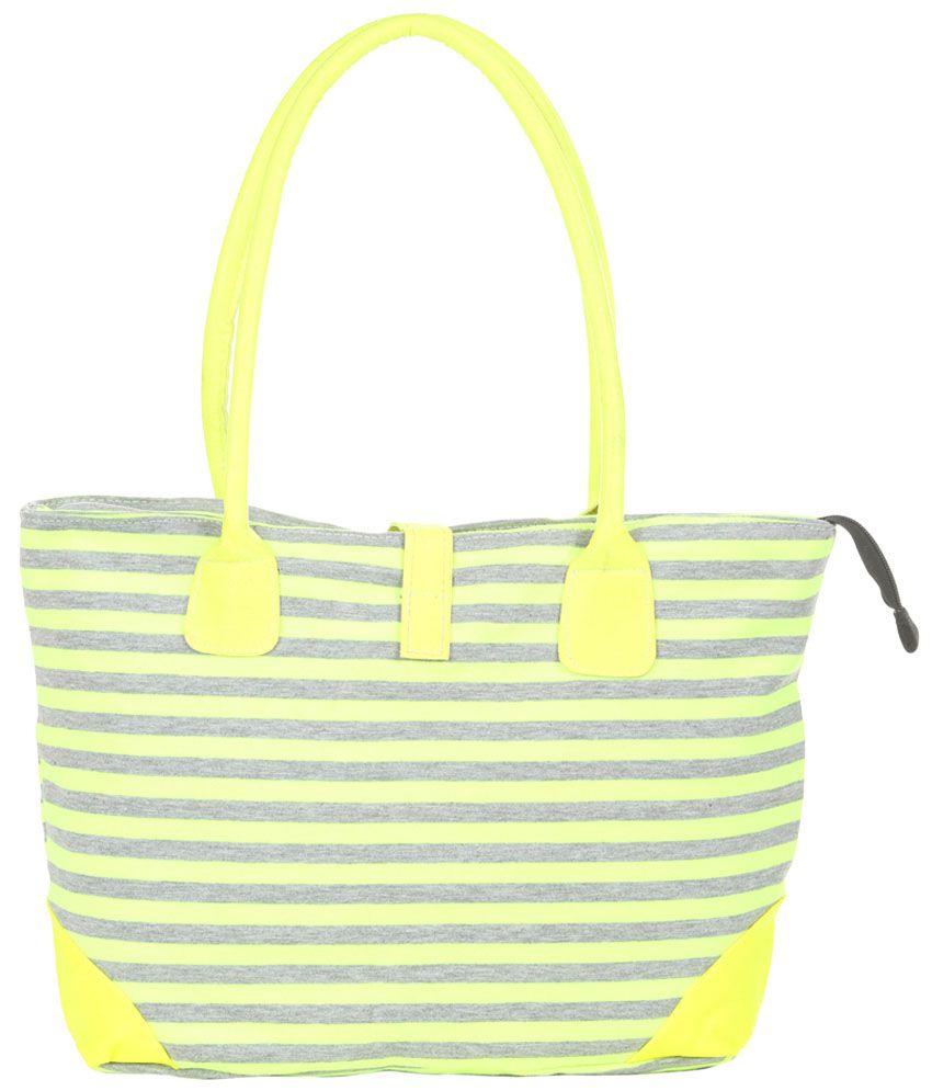 Kiara 10597-grey-yellow Yellow Tote Bags