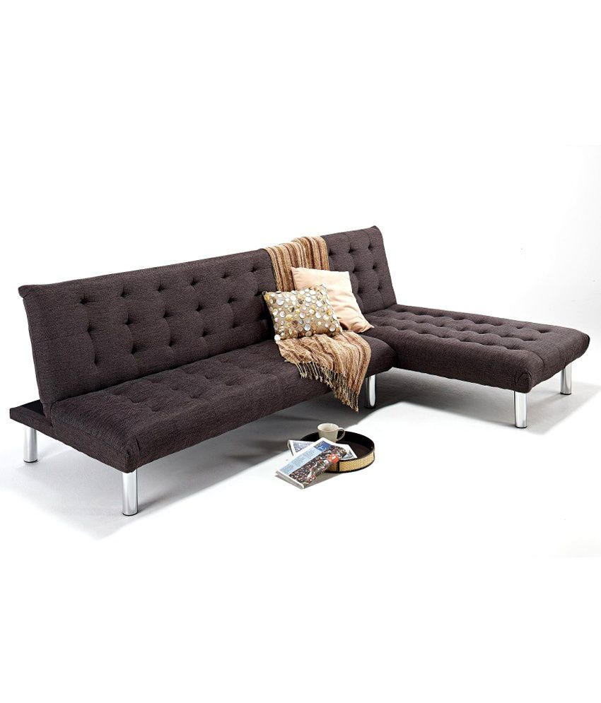 Kyra l shaped sofa cum bed in brown buy kyra l shaped for Sofa bed price in india