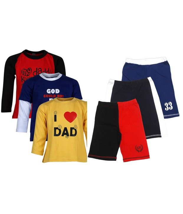 Goodway Pack of 6 -Boys Mom & Dad Color 3 Pack T-Shirts  & 3 Pack Fashion Shorts Combo Pack