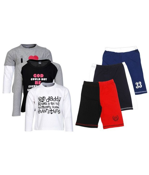 Goodway Pack of 6 -Boys Mom & Dad BWG 3 Pack T-Shirts & 3 Pack Fashion Shorts Combo Pack