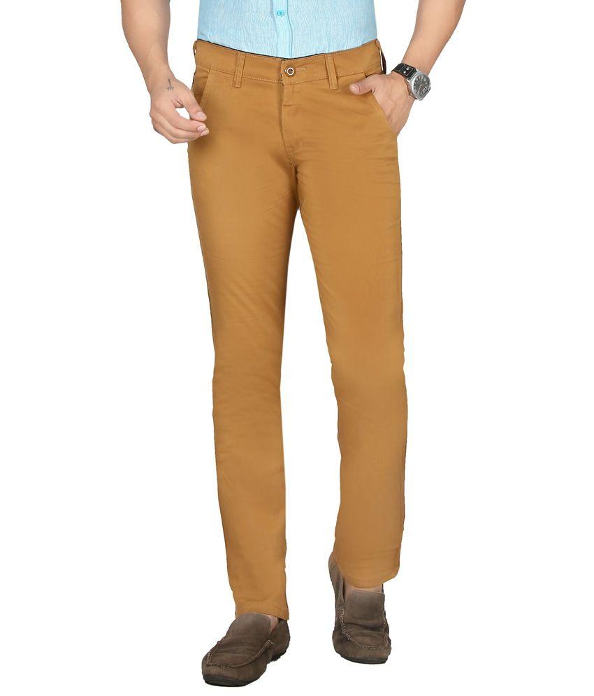 Sloper Beige Slim Formal Flat Trousers