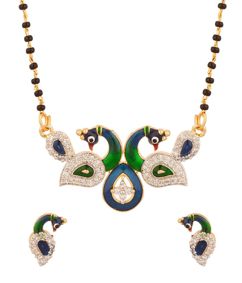Voylla Mangalsutra Set With Two Peacock Motifs With Blue Green Enamel Featuring Single Chain