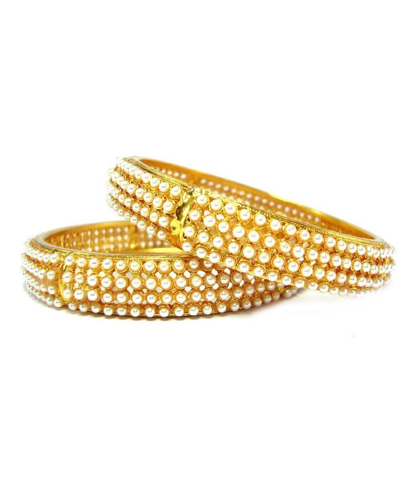 9Blings Stylish Gold Plated 2Pc Pearl Cz Kada