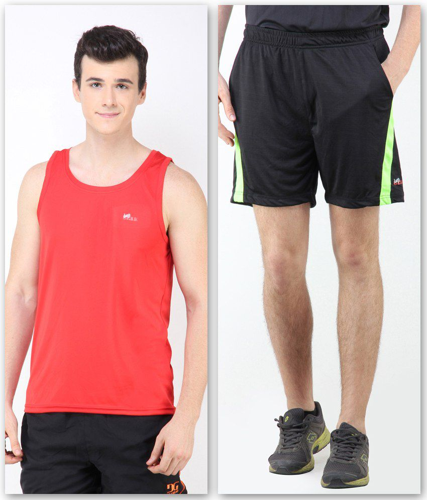 Dazz Gear Black Polyester Solids Shorts With Muscle Tee