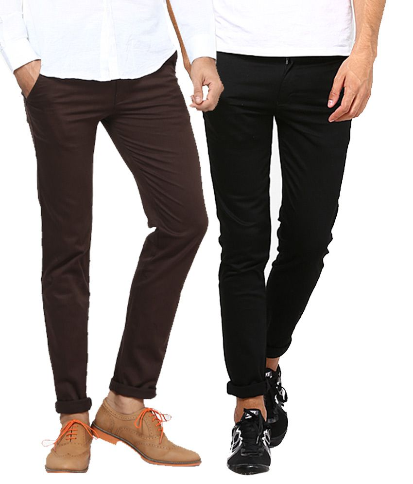 Inspire Clothing Inspiration Pack Of 2 Slim Casual Chinos (Black & Brown)