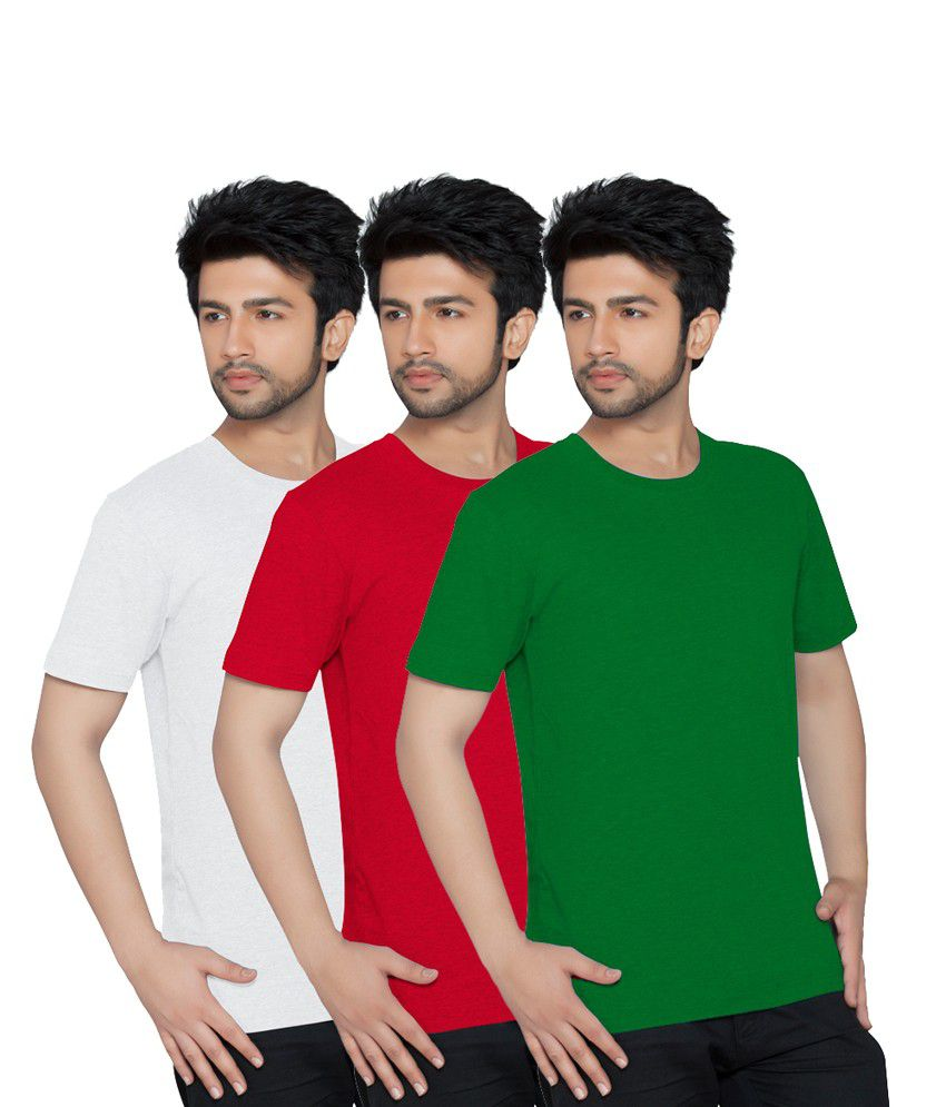 Texfit Men's White, Red & Green Round Neck - Pack Of 3