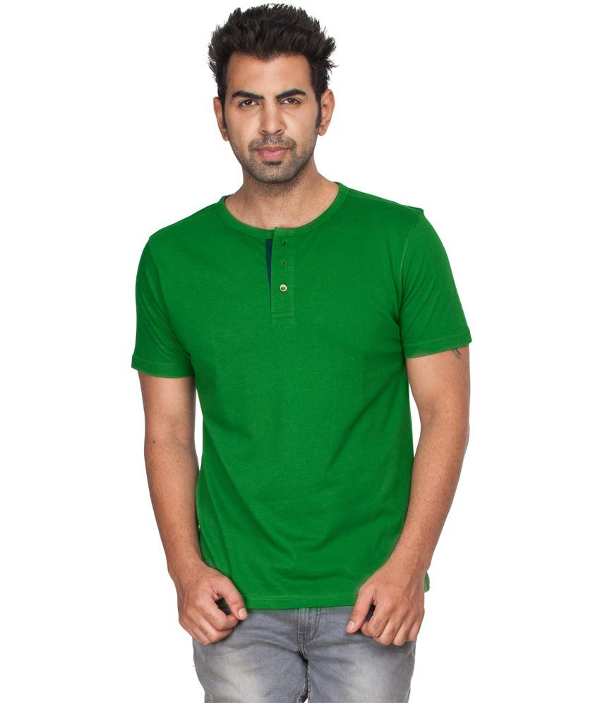 Zovi Cactus Henley T-shirt With Blue Placket