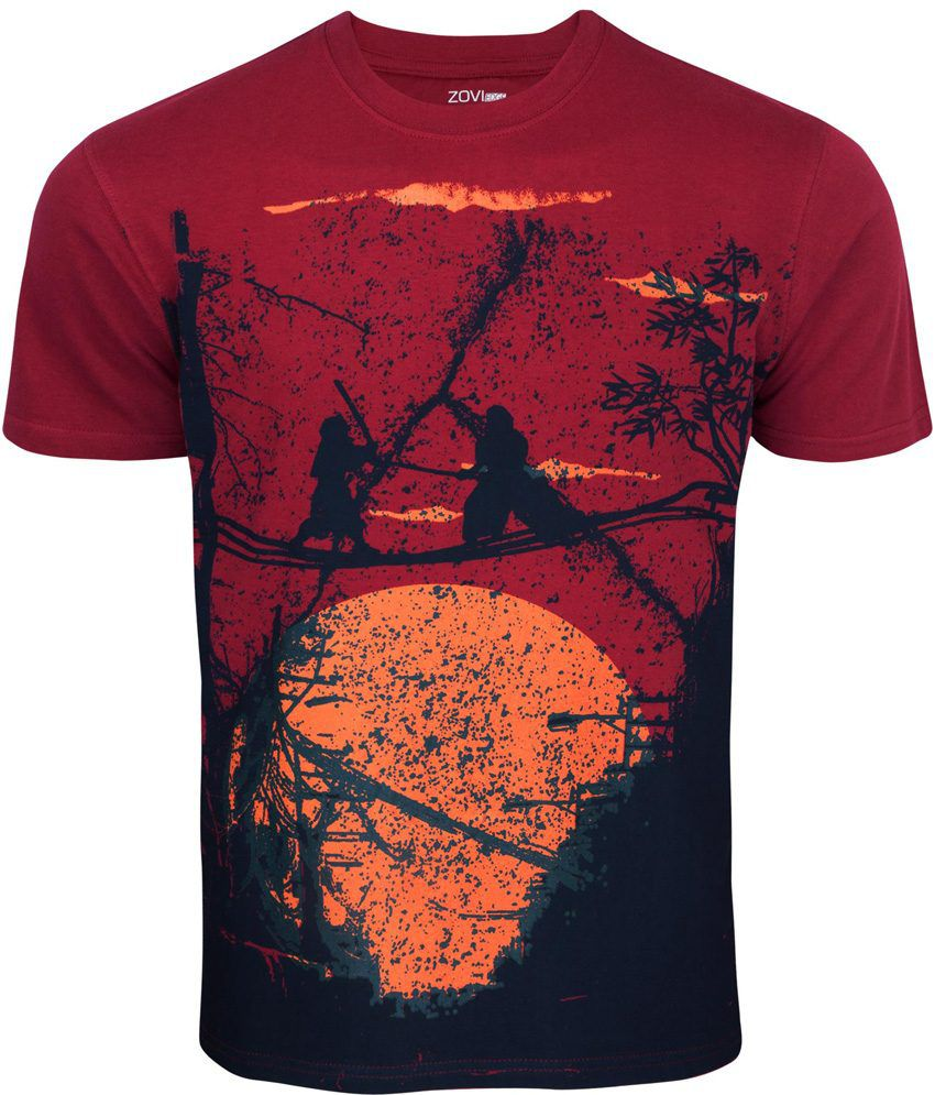 Zovi The Final Fight Crimson Red Graphic Round Neck Tee