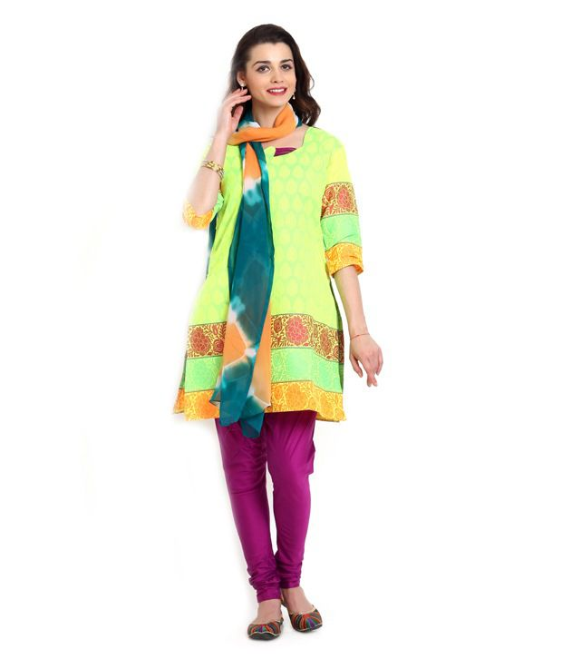 Aaboli Yellow Embroidered Cotton Dress Material With Dupatta
