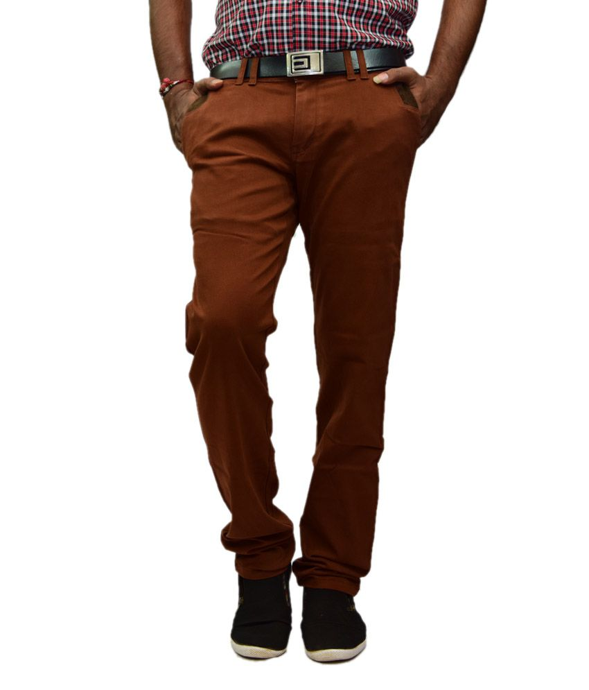 British Terminal Maroon Slim Casuals Chinos