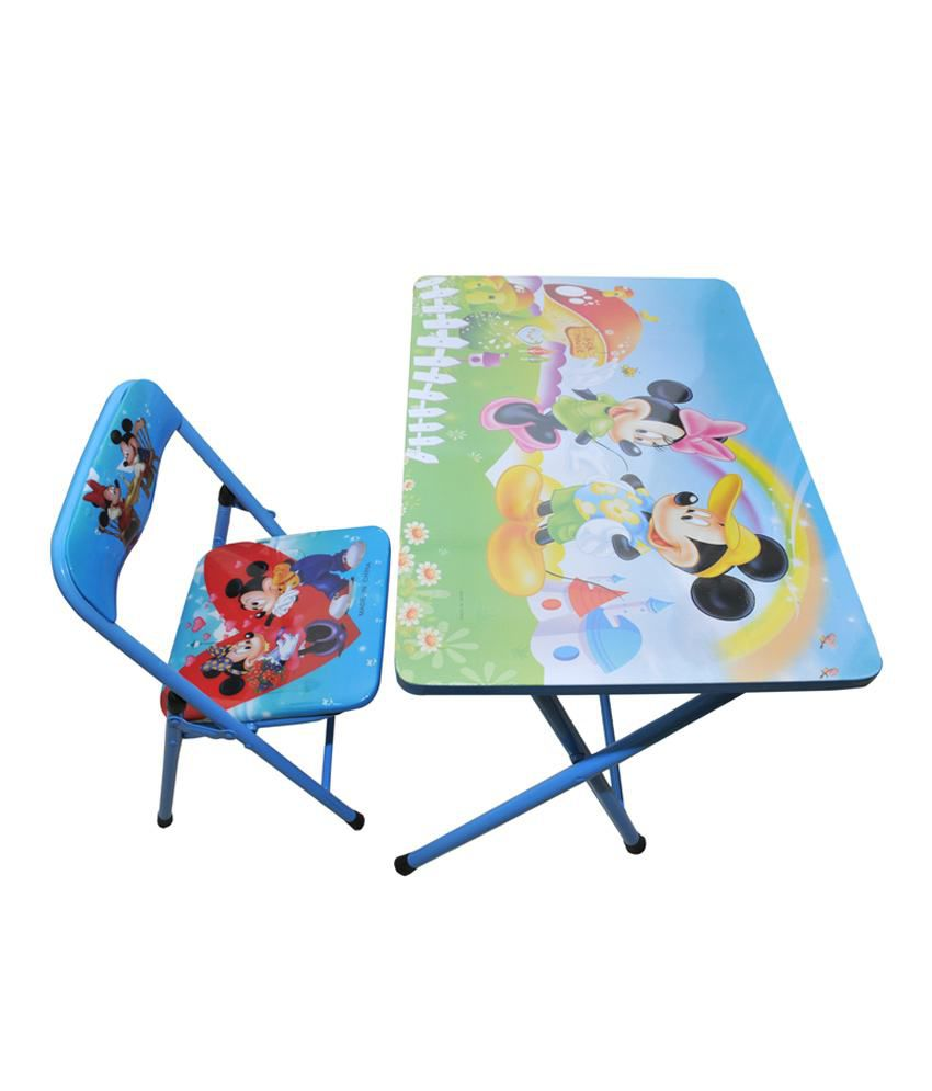 Happy Kids Foldable Study Table And Chair Mickey Mouse