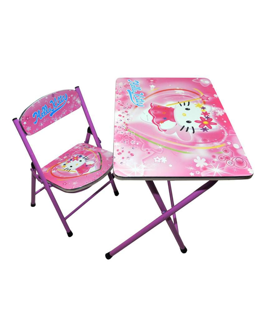Happy Kids Foldable Study Table And Chair Hello Kitty