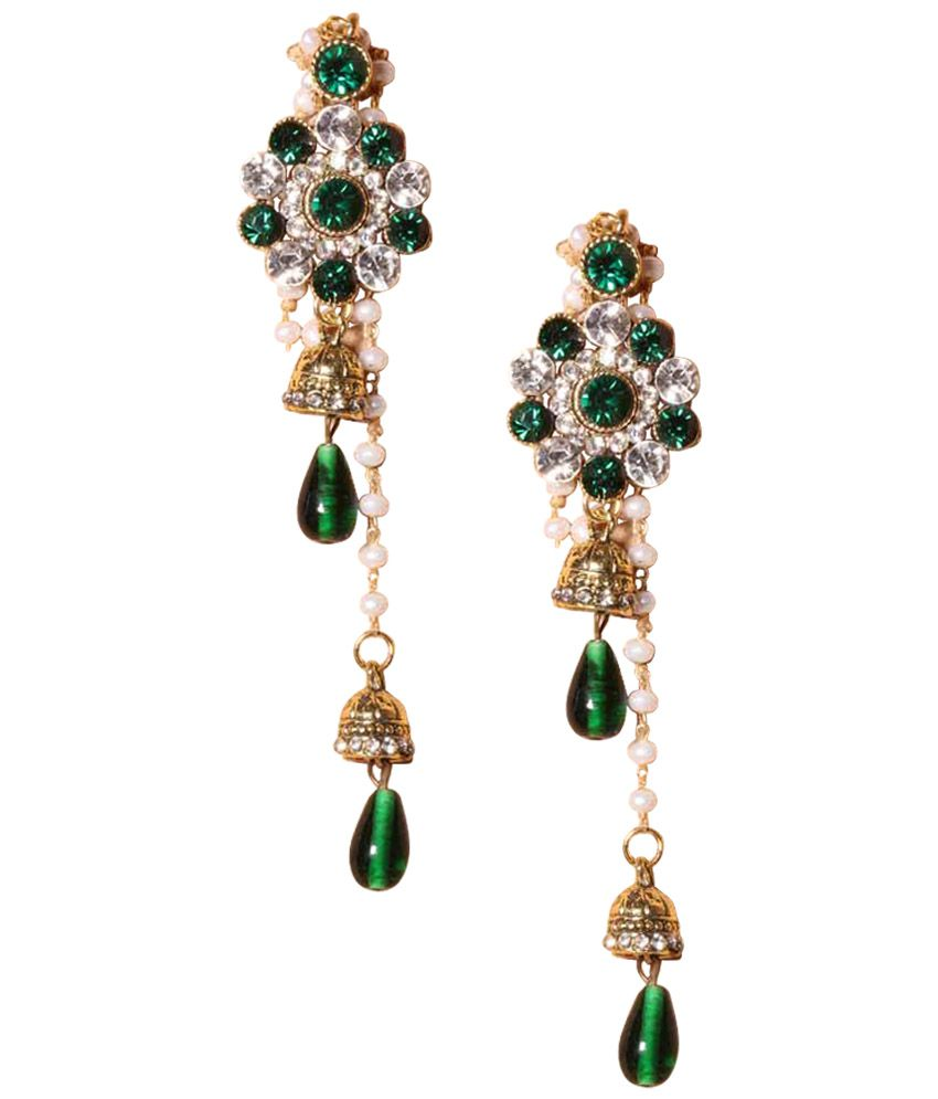 Khoobsurati Kashmiri Styled Studded Danglers With Beautiful Green Drop -  Buy Khoobsurati Kashmiri Styled Studded Danglers With Beautiful Green Drop  Online at Best Prices in India on Snapdeal