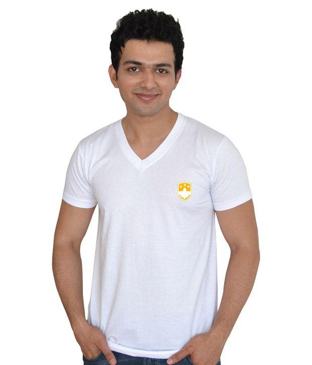 Go Untucked White Varsity Printed V-neck T-shirt