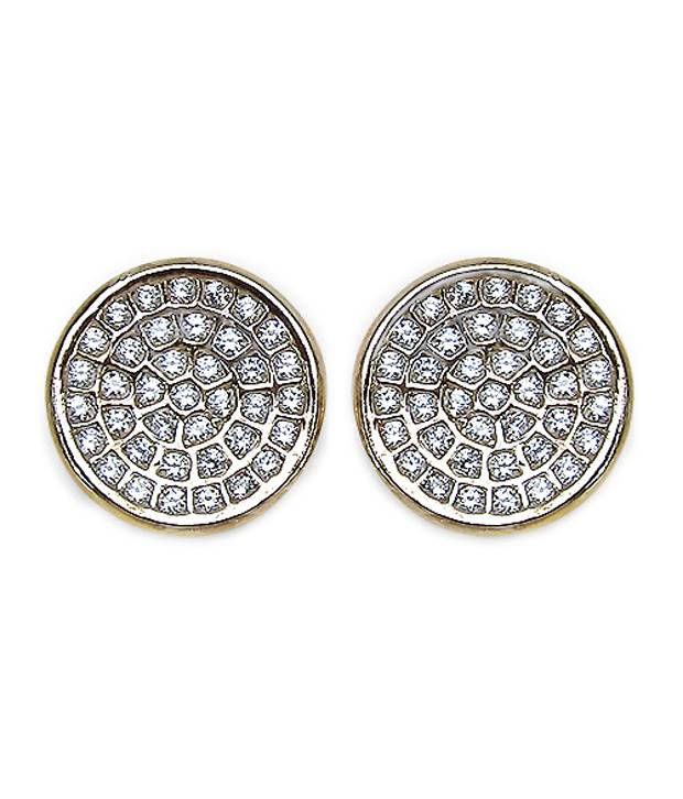 Johareez American Diamond Gold Plated Copper Round Shape Earrings