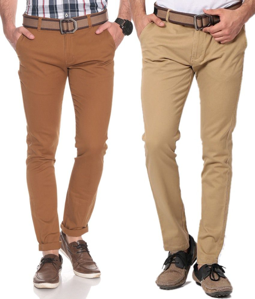 Silver Streak Brown Slim Casuals Combo Of 2 Chinos