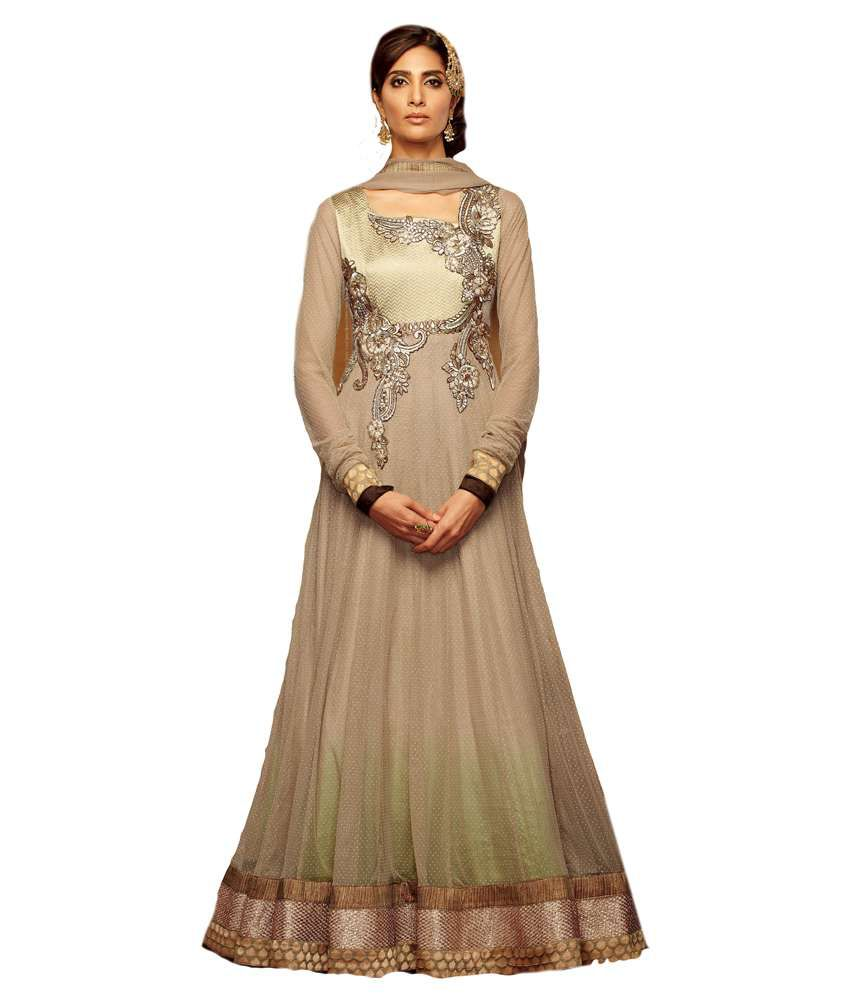 Dress material saree grey designer floor touch anarkali for Floor touch gown