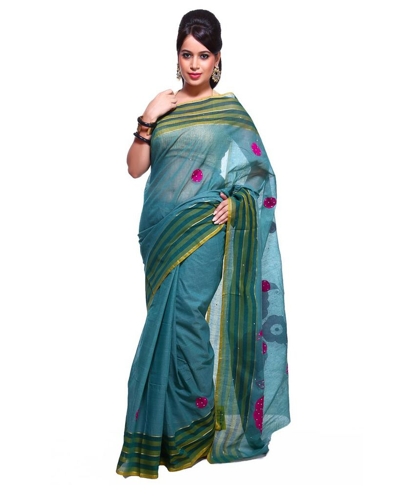 Vida Blue Embroidered Cotton Silk Saree With Blouse Piece