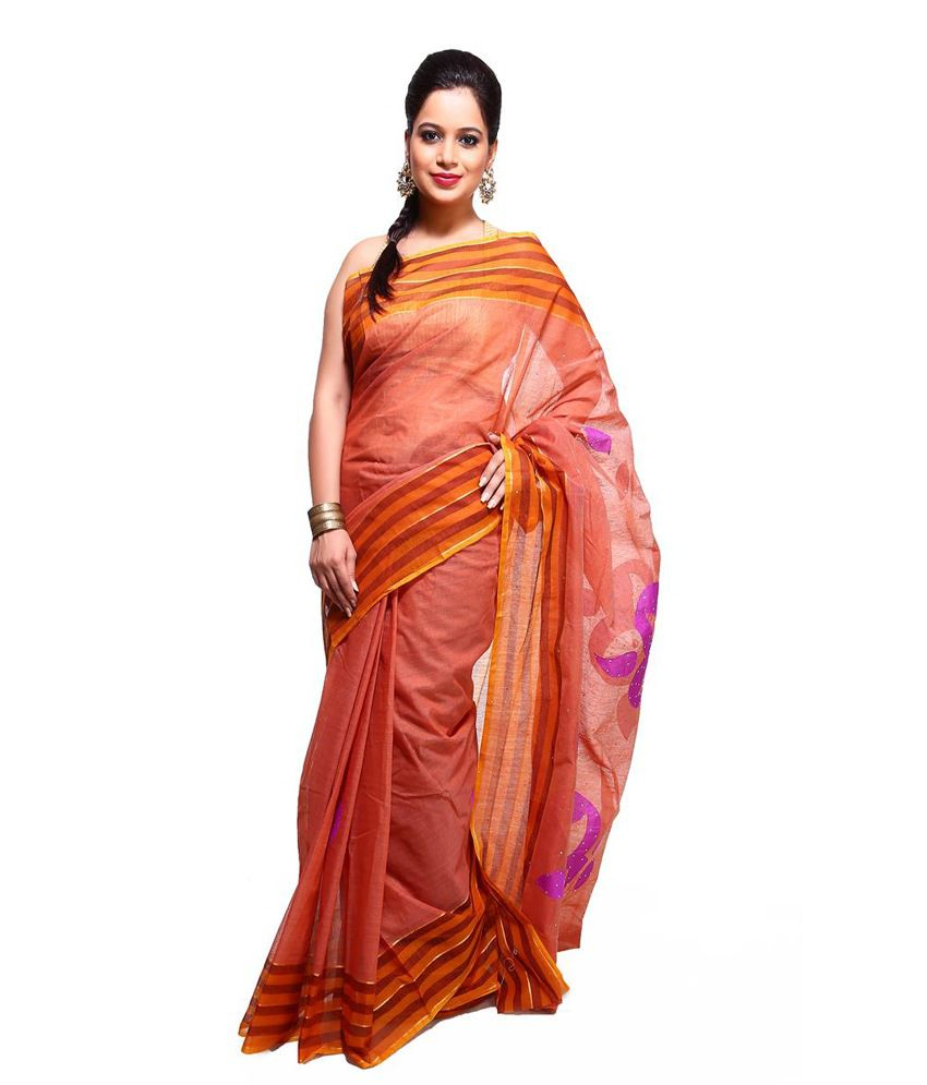 Vida Orange Embroidered Cotton Silk Saree With Blouse Piece
