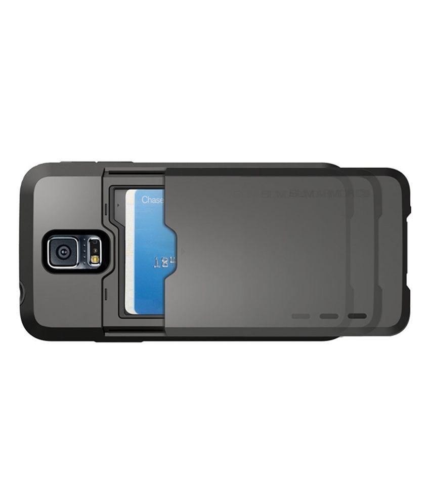 online store f5522 33bd7 Spigen Samsung Galaxy S5 Case Cover Slim Armor CS - CARD SLOT Wallet (Gun  Metal)