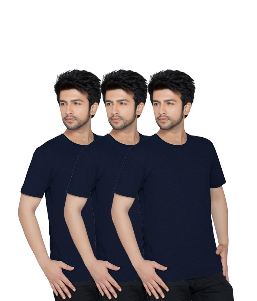 Texfit Men's Navy, Navy And Navy Round Neck - Pack Of 3