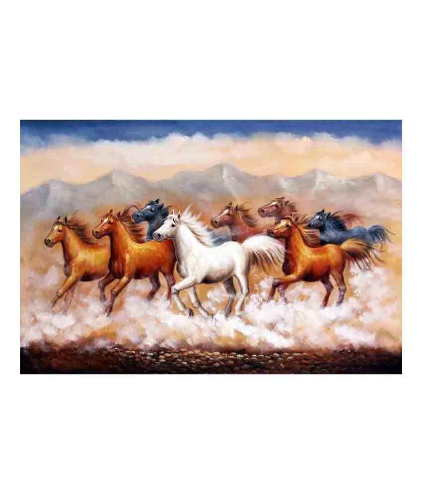 Vishnu Artz Multicolour Sevens Canvas Wall Painting