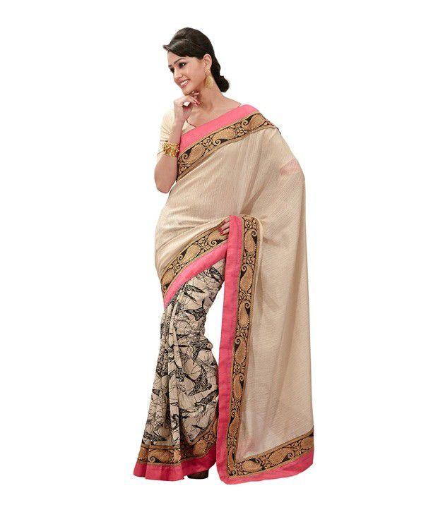 Aara Trendz Cream Colored Bhagalpuri Cotton Printed Saree
